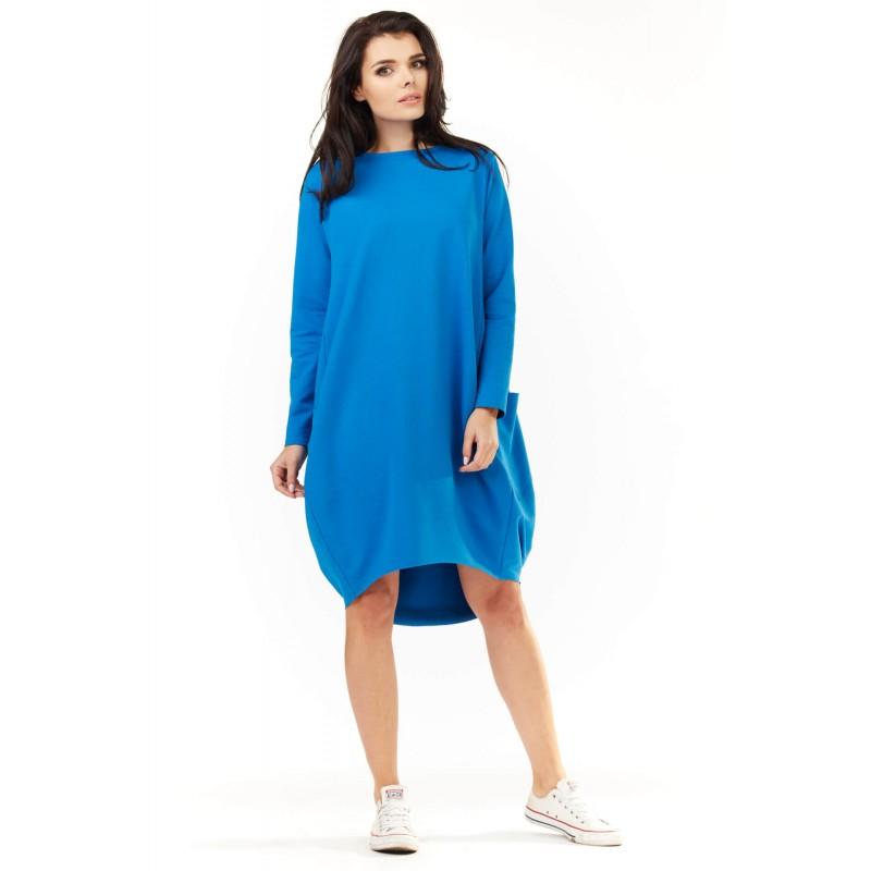 Rochie de zi cu buzunare M154 albastra
