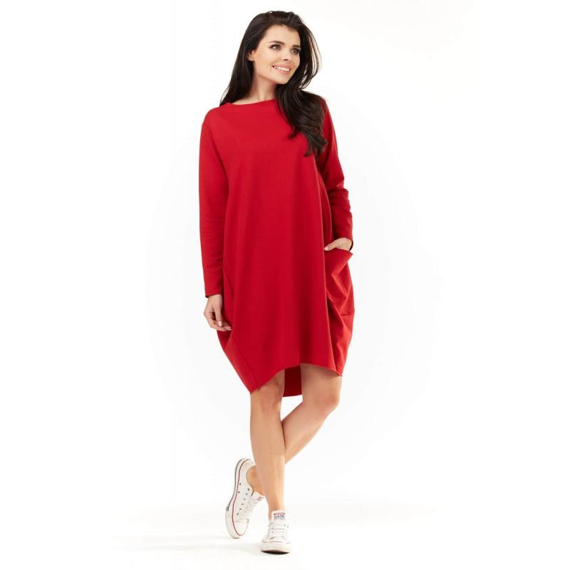 Rochie de zi cu buzunare M154 rosie