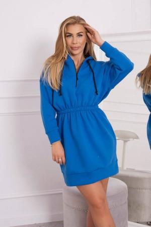 Rochie cu gluga casual-sport albastra