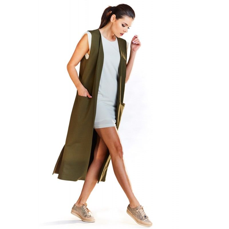 Vesta lunga dama maxi kaki cu decupaje decorative