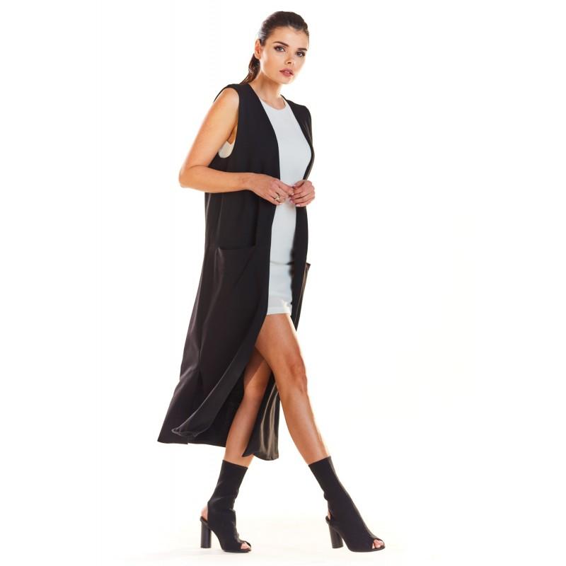 Vesta lunga dama maxi neagra cu decupaje decorative
