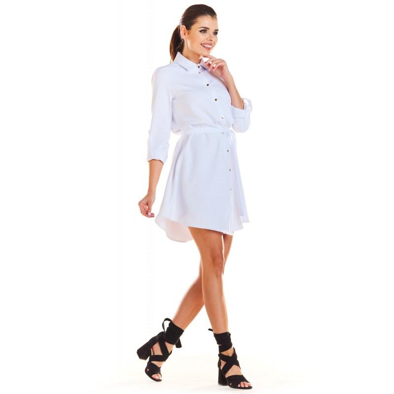 Rochie mini alba asimetrica si butoni decorativi