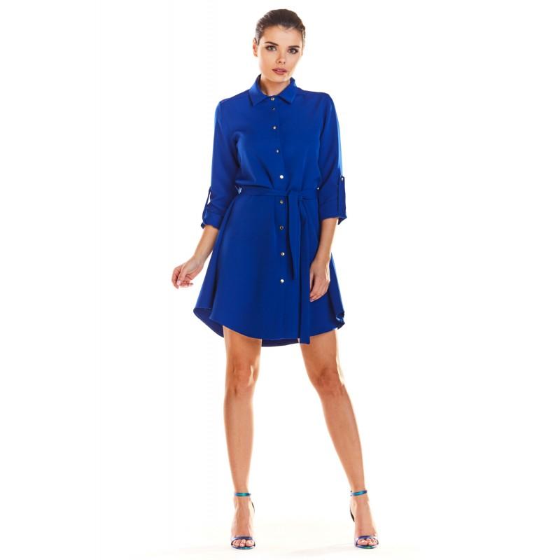 Rochie mini albastra asimetrica si butoni decorativi