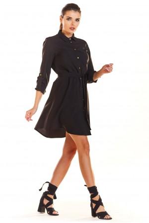 Rochie mini neagra asimetrica si butoni decorativi