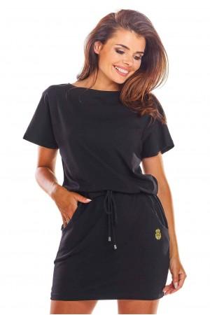 Rochie de zi sport cu siret in talie cu buzunare neagra