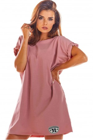 Rochie lejera de vara, roz decupata in spate