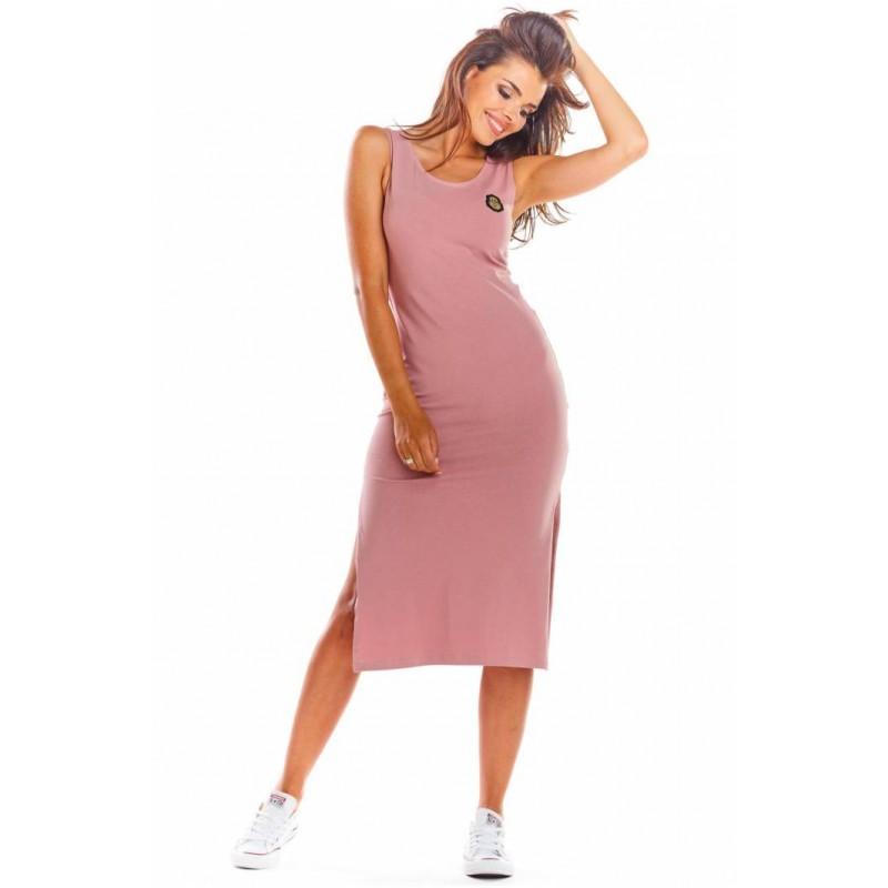 Rochie roz lunga de vara fara maneci casual sport