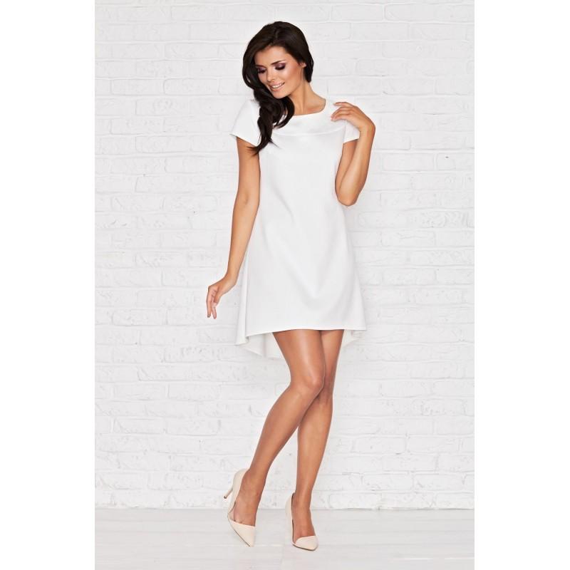 Rochie alba eleganta cu mâneci scurte,cu o lungime asimetrica